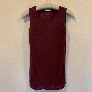 Anthropologie maroon ribbed sleeveless tank top
